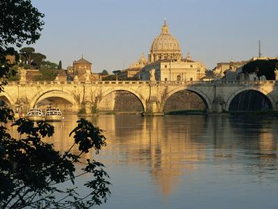 River Tiber and Ponte Sant'Angelo, St. Peter's Basilica and the Vatican Beyond, Rome, Lazio, Italy-Tomlinson Ruth-Photographic Print