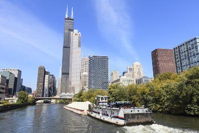 River Traffic on South Branch of Chicago River, Chicago, Illinois, USA-Amanda Hall-Photographic Print