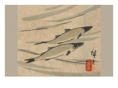 River Trout (Ayu Zu)-Ando Hiroshige-Art Print