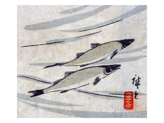 River Trout, Japanese Wood-Cut Print-Lantern Press-Art Print