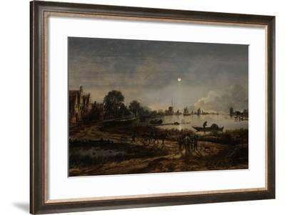 River View by Moonlight-Aert van der Neer-Framed Art Print