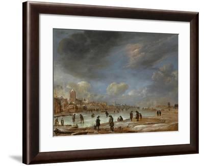 River View in the Winter-Aert van der Neer-Framed Art Print