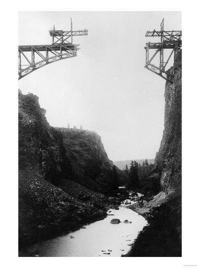River View of O.T. Bridge Under Construction - Crooked River, OR-Lantern Press-Art Print