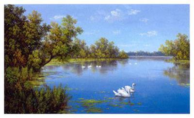 River with Swans II-Slava-Art Print