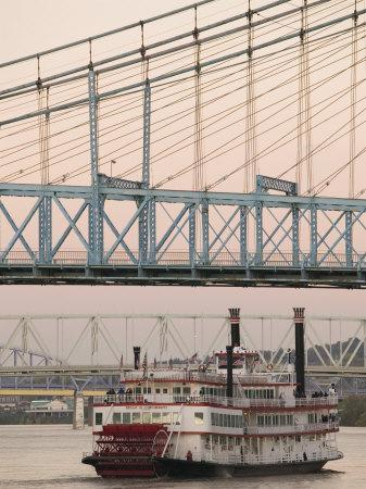 Riverboat on Ohio River and, Roebling Suspension Bridge, Cincinnati, Ohio, USA-Walter Bibikow-Photographic Print