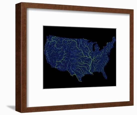 Rivers Of The Us In Blue And Green-Grasshopper Geography-Framed Giclee Print