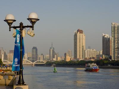 Riverscape, Guangzhou, Guangdong, China, Asia-Charles Bowman-Photographic Print