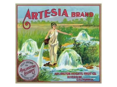 Riverside, California, Artesia Brand Citrus Label-Lantern Press-Art Print