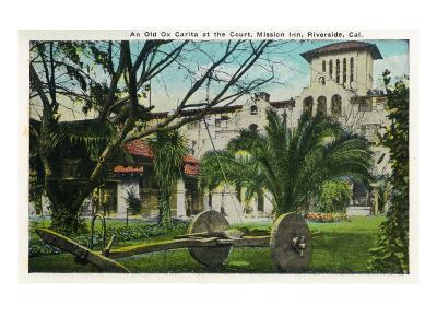 Riverside, California - Mission Inn, View of an Old Ox Carita in the Courtyard, c.1921-Lantern Press-Art Print