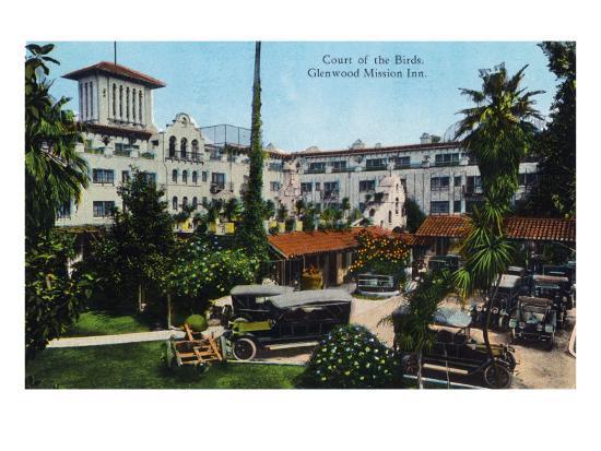Riverside, California - View of Glenwood Mission Inn, View of the Court of the Birds, c.1915-Lantern Press-Art Print