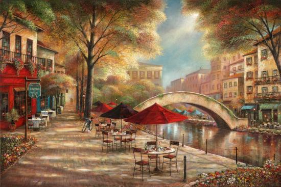 Riverwalk Café-Ruane Manning-Art Print