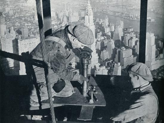 'Rivetting the last bolts on The Morning Mast of the Empire State building', c1931-Lewis Wickes Hine-Photographic Print