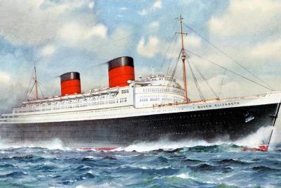 RMS Queen Elizabeth, Cunard Ocean Liner, 20th Century--Giclee Print