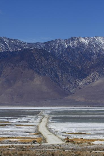 Road across Owens Lake and Sierra Nevada Mountains, California-David Wall-Photographic Print