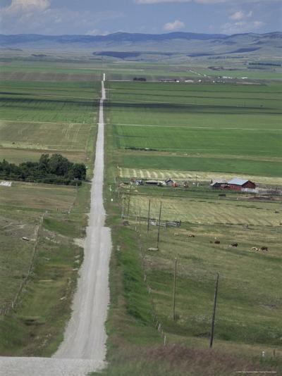 Road Across Prairie Wheatlands, South of Calgary, Alberta, Canada-Tony Waltham-Photographic Print