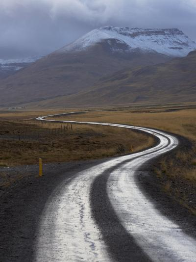 Road and Landscape in Vatsnes Peninsula, with Snow-Covered Mountains in October of Iceland-Patrick Dieudonne-Photographic Print