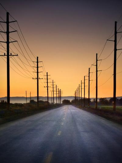 Road and Power Lines at Sunset-www.jodymillerphoto.com-Photographic Print