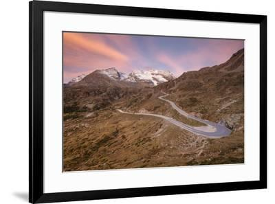 Road bends of Bernina Pass at dawn, Poschiavo Valley, Engadine, Canton of Graubunden, Switzerland, -Roberto Moiola-Framed Photographic Print