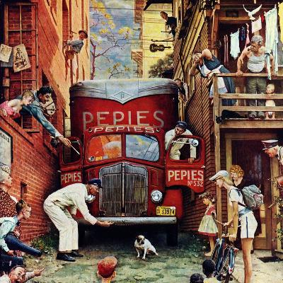 """""""Road Block"""", July 9,1949-Norman Rockwell-Giclee Print"""