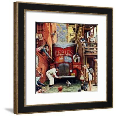 """Road Block"", July 9,1949-Norman Rockwell-Framed Giclee Print"