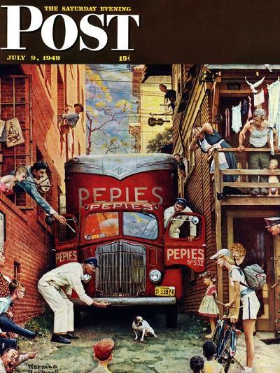 """""""Road Block"""" Saturday Evening Post Cover, July 9,1949-Norman Rockwell-Giclee Print"""