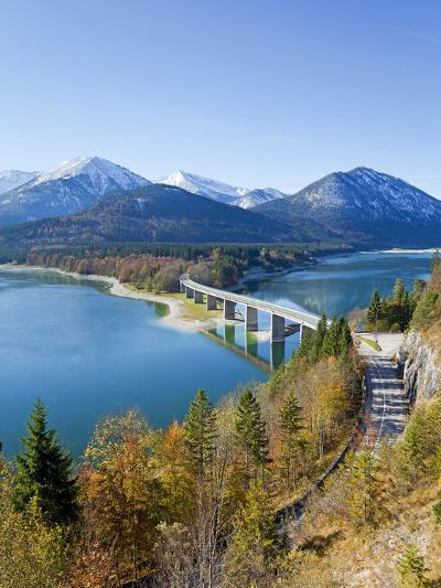 Road Bridge Over Lake Sylvenstein, With Mountains in the Background, Bavaria, Germany, Europe-Gavin Hellier-Photographic Print