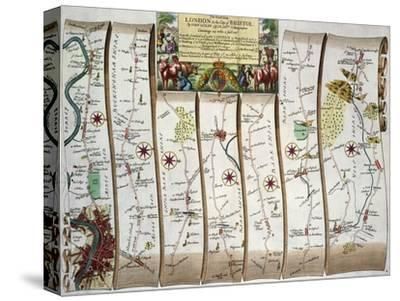 """Road from London to Bristol, from John Ogilby's """"Britannia,"""" Pub. 1675, London (First Page)"""