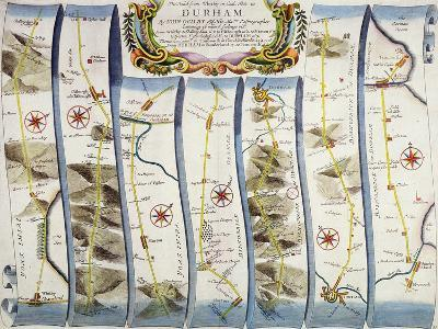 """Road from Whitby to Durham, from John Ogilby's """"Britannia"""", Pub. 1675, London--Giclee Print"""