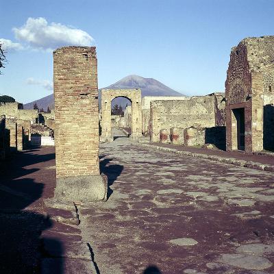 Road Leading to Arch of Caligula with Vesuvius Beyond, Pompeii, Italy-CM Dixon-Photographic Print