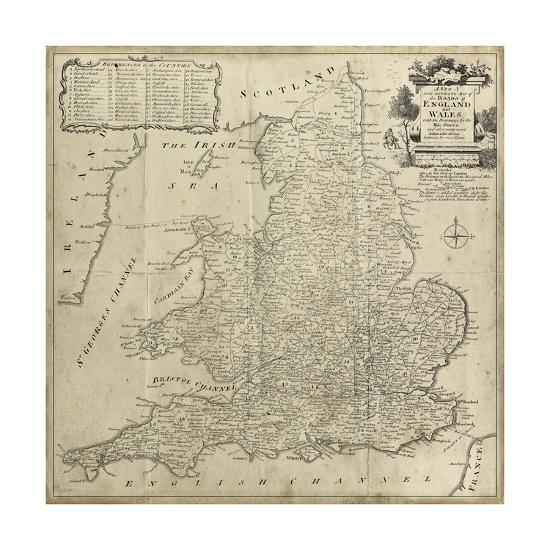 Driving Map Of England And Wales.Road Map Of England And Wales Art Print By Art Com