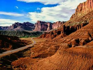 Road passing through rocky desert, Capitol Reef National Park, Utah, USA
