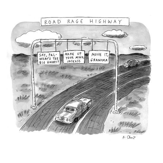 'Road Rage Highway' - New Yorker Cartoon-Roz Chast-Premium Giclee Print