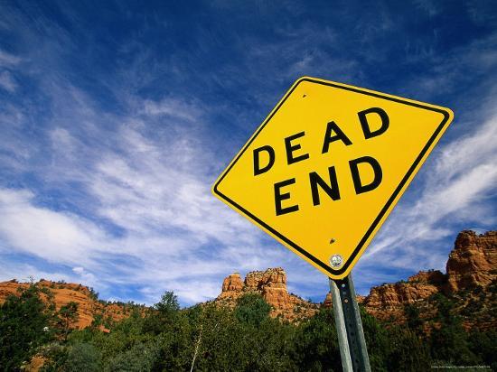 Road Sign, Dead End-James Lemass-Photographic Print