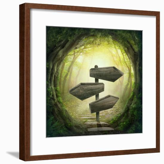 Road Sign in the Dark Forest-egal-Framed Photographic Print
