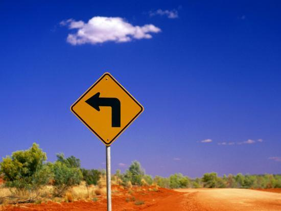 Road Sign Pointing to Rainbow Valley Road, Rainbow Valley Conservation Reserve, Australia-John Banagan-Photographic Print