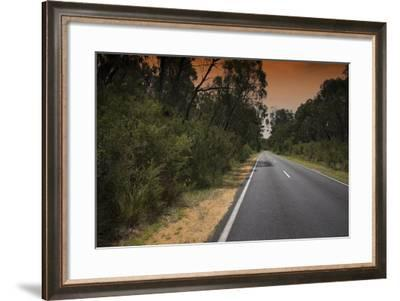 Road under Smoke Filled Skies from Brush Fire in Grampians, Australia-Chad Copeland-Framed Photographic Print