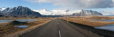 Road with Mountains in the Background, Iceland--Photographic Print