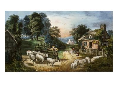 Roadside Cottage-Currier & Ives-Giclee Print