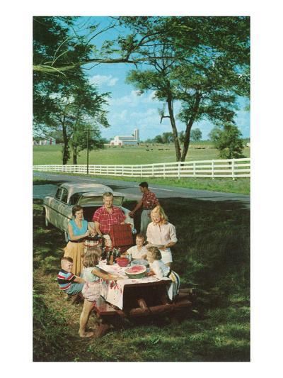 Roadside Family Picnic--Art Print