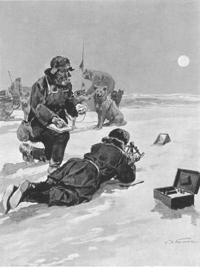 Roald Amundsen Calculating His Position, South Pole, 1911--Photographic Print