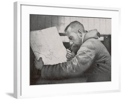 Roald Amundsen in the Cabin of His Ship Gjoa--Framed Photographic Print