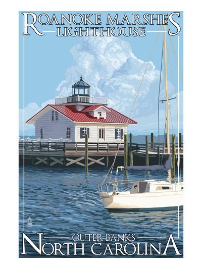 Roanoke Marshes Lighthouse - Outer Banks, North Carolina-Lantern Press-Art Print