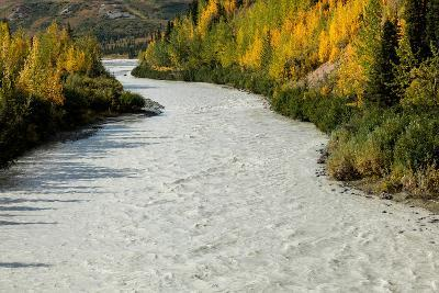 Roaring river and autumn color as seen off Richardson Highway, Route 4, North of Paxon, Alaska--Photographic Print