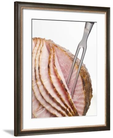 Roast Ham, Partly Carved, with Carving Fork--Framed Photographic Print