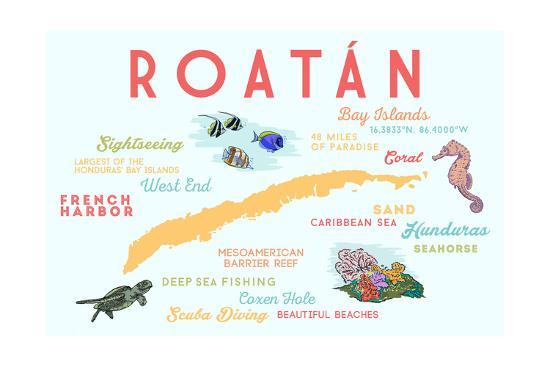 Roatan - Typography and Icons-Lantern Press-Art Print
