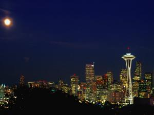 Skyline at Night with Moon and Space Needle Tower Seattle, Washington, USA by Rob Blakers