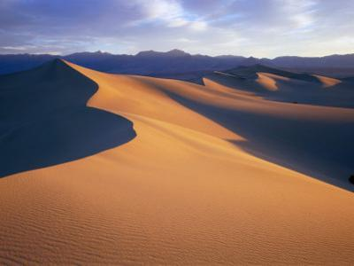 Sun and Shadows Outline Sand Dunes Near Stovepipe Wells, Death Valley National Park, California