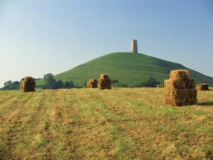 Harvested Fields before Glastonbury Tor, Somerset, England, United Kingdom, Europe by Rob Cousins