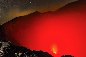 Glowing Active 700M Wide Volcanic Crater of Volcan Telica with Lava Vents Far Below by Rob Francis
