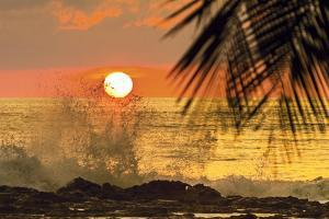 Sun Going Down Behind Surf Spray at This Resort Near Mal Pais, Santa Teresa, Costa Rica by Rob Francis